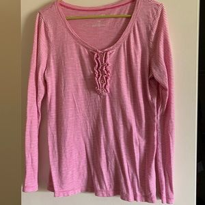 Old Navy Long Sleeve Pink Striped Tee Large